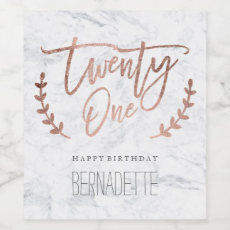 Rose gold typography feathers marble 21st Birthday Wine Label