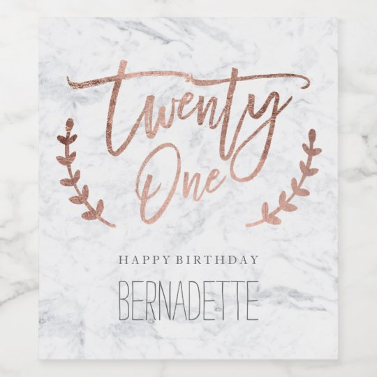 Rose gold typography feathers marble 21st Birthday Wine