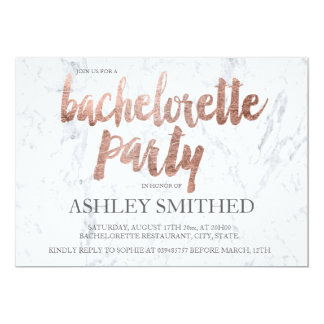 Rose gold typography marble bachelorette party card