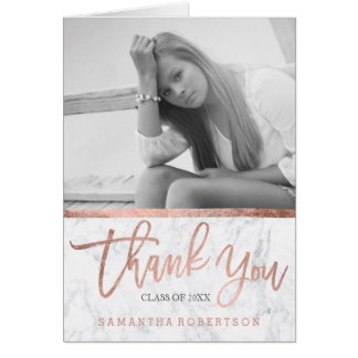 Rose gold typography marble graduation thank you card