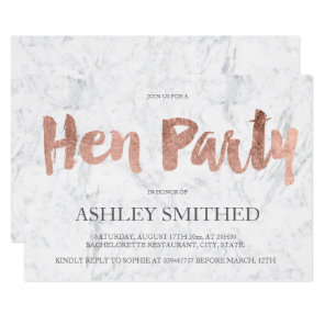 Rose gold typography marble hen party invitation
