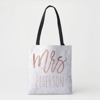 Rose gold typography marble Mrs Tote Bag