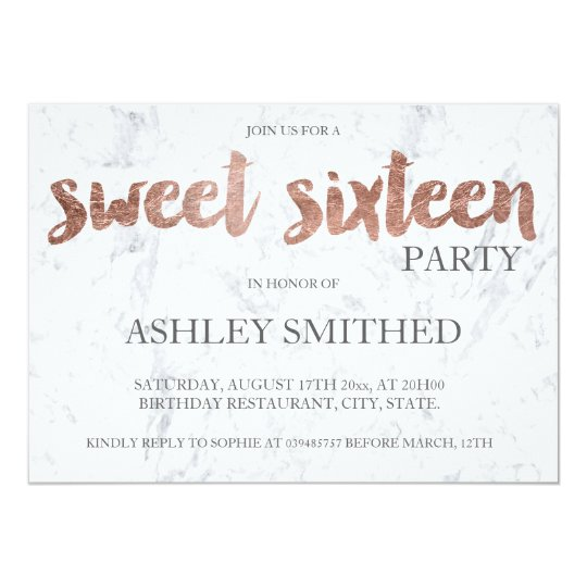 Rose gold typography marble Sweet 16 Card