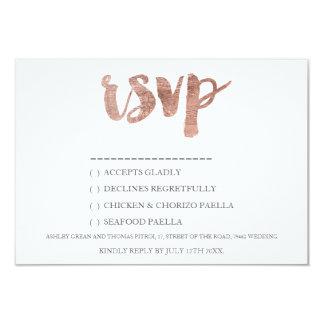 Rose gold typography RSVP Wedding 4 9 Cm X 13 Cm Invitation Card