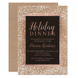 Rose gold typography snow holiday party kraft card
