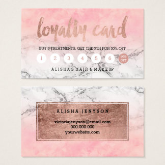 Rose gold typography watercolor marble loyalty business card