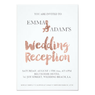 Rose gold typography wedding reception faux foil 5 13 cm x 18 cm invitation card