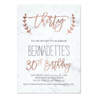 Rose gold typography white marble 30th Birthday Card
