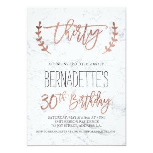 30th birthday invitations announcements zazzle uk rose gold typography white marble 30th birthday invitation filmwisefo