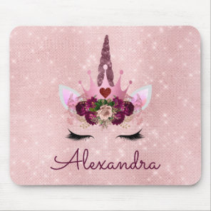 Rose Gold Unicorn Sparkle Princess Monogram Name Mouse Mat