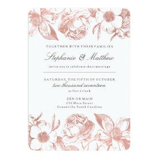 Rose Gold Vintage Floral Wedding Invitation