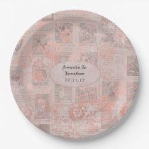 Rose Gold Vintage Newspaper Wedding Paper Plate