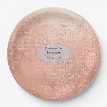 Rose Gold Vintage Print Wedding Paper Plate