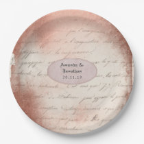 Rose Gold Vintage Typography Wedding Paper Plate