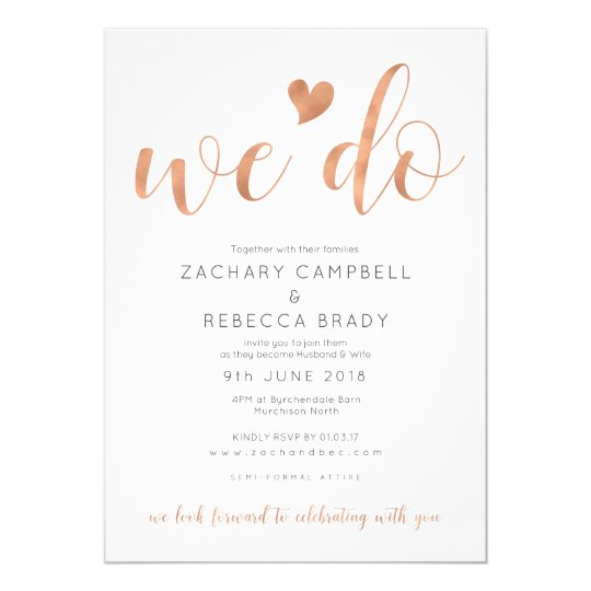 Rose Gold We Do Wedding Invitation Blush