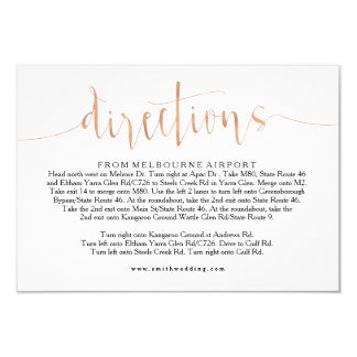 Rose Gold Wedding Directions Info Card