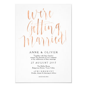 Rose Gold Wedding Invitation Rustic