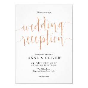 Rose Gold Wedding Reception Invitation