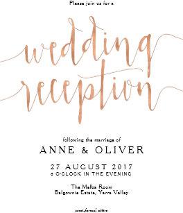 Rose Gold Wedding Reception Invitation