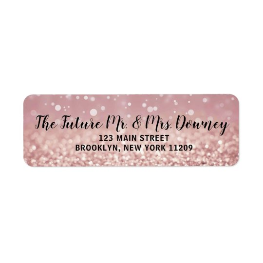 Rose Gold Wedding Return Address Labels