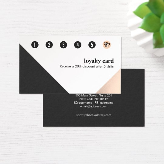 Rose Gold, White Black,Geometric 6 Punch Loyalty Business Card