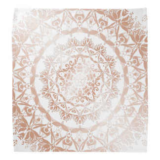 Rose Gold White Damask Mandala Bandana