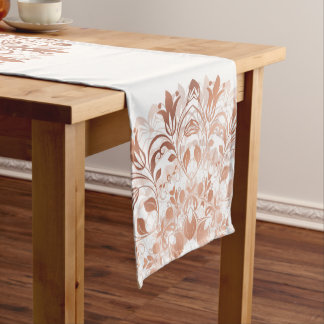 Rose Gold White Floral Mandala Short Table Runner