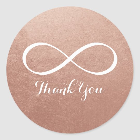 Rose Gold White Infinity Symbol Thank You Classic