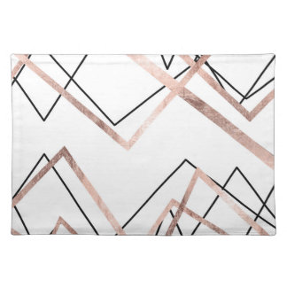 Rose Gold White Linear Triangle Abstract Pattern Placemat