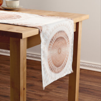 Rose Gold White Mandala Pattern Short Table Runner