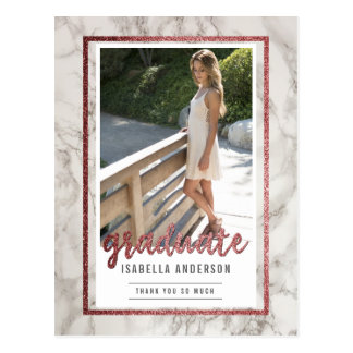 Rose Gold & White Marble | Photo Graduation Thanks Postcard