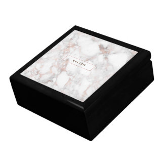 Rose-Gold & White Modern Faux Marble Stone Gift Box