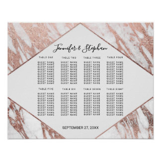 Rose Gold White Modern Marble Seating Chart