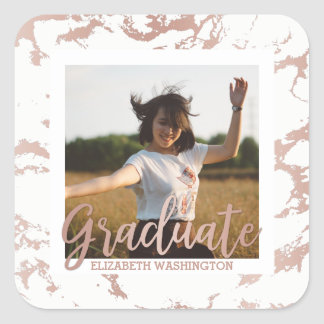 Rose Gold & White Stains Photo Graduation Party Square Sticker