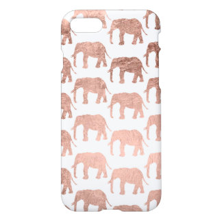 Rose gold wild elephants pattern simple iPhone 7 case