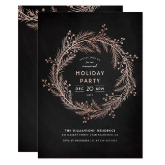 Rose Gold Wreath & Chalkboard Holiday Party Card