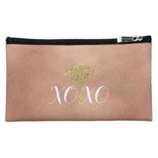 Rose Gold XOXO Lips Cosmetic Bag