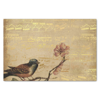 Rose Golden Song Bird Vintage Music Notes Garden Tissue Paper