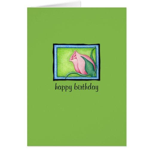 Rose green Birthday Card