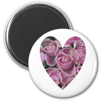 Rose Heart 6 Cm Round Magnet