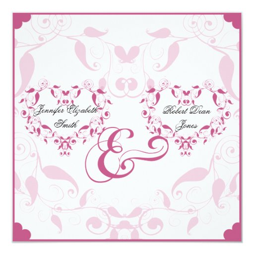 Rose Heart Floral Wedding 13 Cm X 13 Cm Square Invitation Card