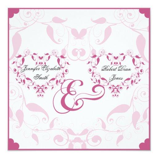 Rose Heart Floral Wedding Custom Invitations