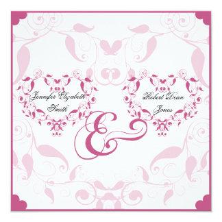 "Rose Heart Floral Wedding 5.25"" Square Invitation Card"