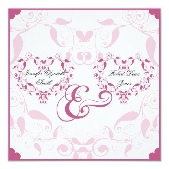 Rose Heart Floral Wedding Invitation