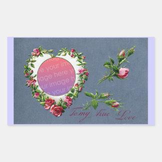 Rose Heart Frame Vintage Valentine Rectangular Sticker