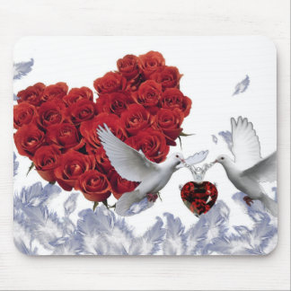 rose heart love birds mousepad