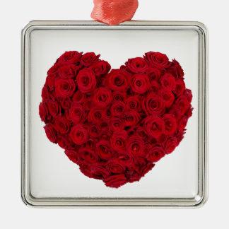 Rose heart shape christmas ornament