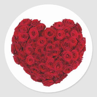 Rose heart shape classic round sticker