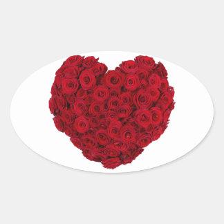 Rose heart shape oval sticker