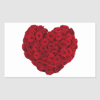 Rose heart shape rectangular sticker